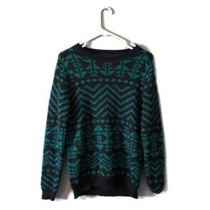 Forever 21 90s Inspired Green and Black Sweater